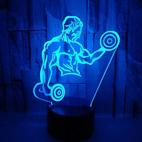 Fitness Con Mancuernas 3D Ilusión Optica Lámpara Led Luz Nocturna 7 Colores Cambiantes Touch Usb De Suministro De Energía Del Dormitorio Del Hogar Decoración Regalo De Navidad Cumpleaños