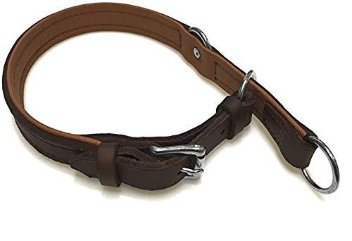 hund-natuerlich Zugstopp Lederhalsband für Hunde Braun, Chrom Gr. 55