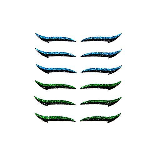 Wiederverwendbare Eyeliner-Aufkleber, 5 Paar Instant Cosmetic Outline Winged, unsichtbarer selbstklebender Eye Line Strip-Aufkleber Einfache und schnelle Augenlid-Make-up-Tools (Blau & Grüner Glitzer)