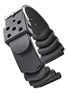 ALPINE Heavy Duty Black Rubber Watch Band for Diver Watches for Wider wrist ONLY (Fits wrist sizes 7 1/2 to 9 inch) - 18XL, 22XL 22XL