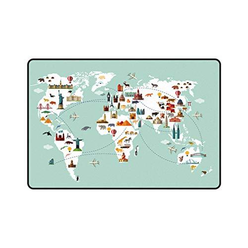 TeppicheSammlung Playmat Teppiche, Grau Basis Kinder Kinder Educational Travel Around The World Design (Non-Slip) Bereichs-Wolldecke,200 * 300CM