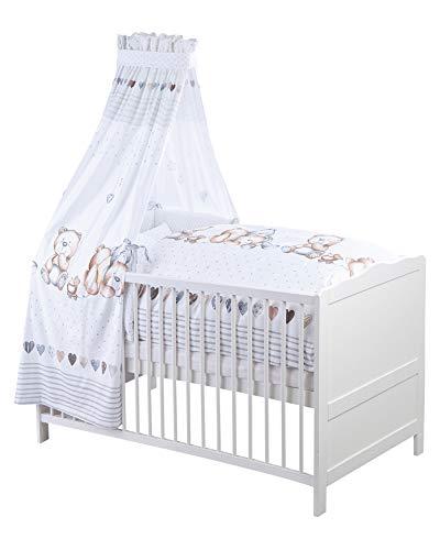 Julius Zöllner 5210314240 Bettset für Baby- und Kinderbetten, 3-teilig inklusiv Nestchen, Himmel und Bettwäsche 100x135 + 40x60 cm, 100% Baumwolle, Made in Germany, Schmusebär, mehrfarbig, 1560 g