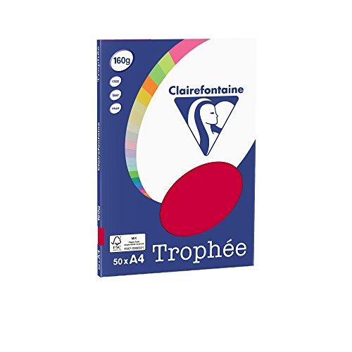 Clairefontaine 4162C Trophée Mini ReSMA de carta, 50 fogli, A4, 160 g, Rosso uva spina