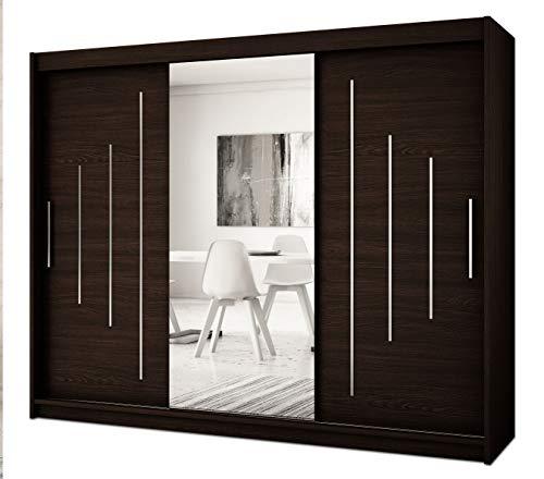 Kryspol Schwebetürenschrank York 1-250 cm mit Spiegel Kleiderschrank mit Kleiderstange und Einlegeboden Schlafzimmer- Wohnzimmerschrank Schiebetüren Modern Design (Wenge)