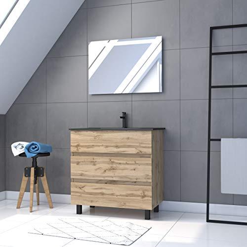 Conjunto de baño con cajón/lavabo de cerámica y espejo LED, 80 x 80 cm, roble natural