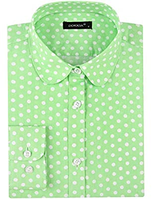 DOKKIA Women's Tops Feminine Long Sleeve Polka Dotted Button Down Work Dress Blouses Shirts