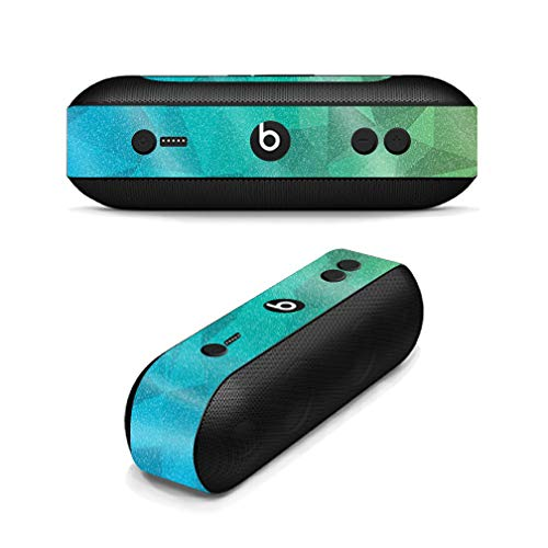 MightySkins Glossy Glitter Skin for Beats Pill Plus - Blue Green Polygon | Protective, Durable High-Gloss Glitter Finish | Easy to Apply, Remove, and Change Styles | Made in The USA