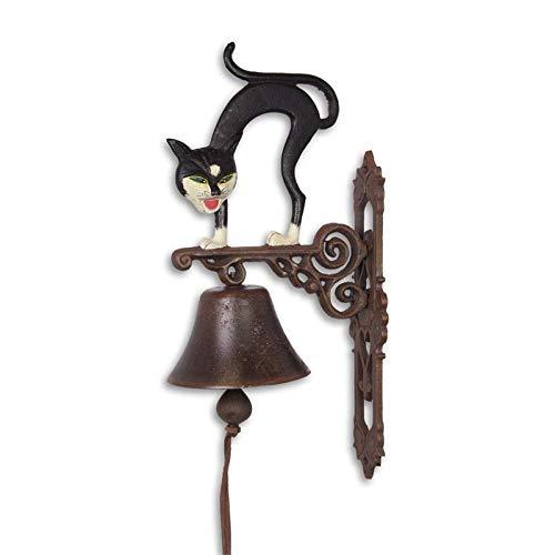 Moritz gietijzeren wandklok gedraaide kat met gesp deurbel 42 cm hoogte huisklok antieke stijl bruin bel versierd
