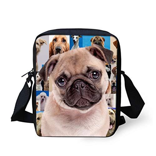 Showudesigns Pug Cross Body Bag para mujeres y hombres, bolsa de mensajero pequeña bolsa de hombro bolsa para viajes al aire libre escuela
