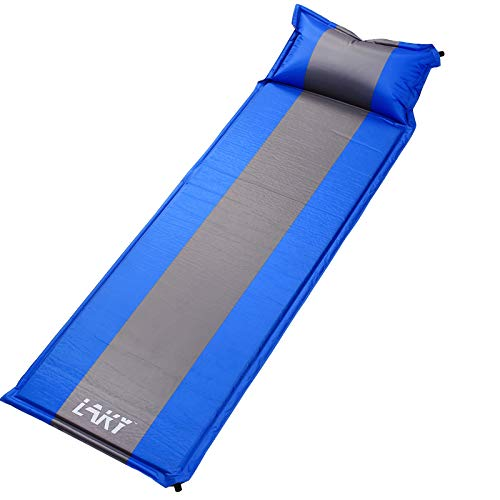 LAKY Camping Sleep Mat with Pillow - Self-Inflating, Lightweight, Best Foam Sleeping Pads for Backpacking, Hiking, Inflatable Durable Comfortable & Compact Sleeping Mattress