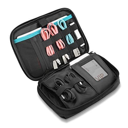ProCase Travel Storage Organizer tas, draagbare elektronische accessoires Reiskabel Organizer opslag draagtas voor Cords SD-kaarten oplader harde schijf powerbank voor iPad Mini -Black