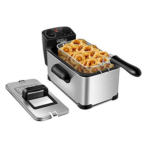 DREAMADE Fritteuse mit Edelstahlkorb, Friteuse 3L mit 60-Minuten Timer und Temperaturregler bis 190 °C, Gerät zum Frittieren, Fryer mit Sichtfenster, Für Pommes frites, Tintenfischringe, 2000W