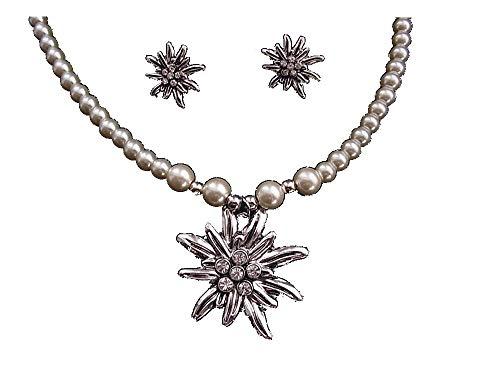 Oktoberfest Schmuck Set Kette Perlenkette mit Anhänger und Ohrschmuck Edelweiss Antik Silber - Crystal