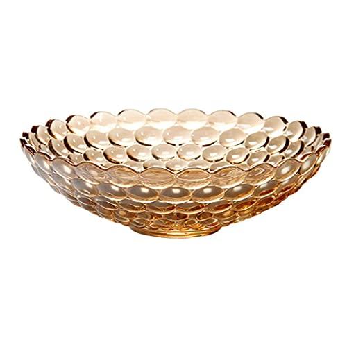 Vajilla, tazones de Frutas Ensaladera Hogar Tazón de Ensalada de Cristal de Lunares Creativo Simple (Color: Marrón, Tamaño: 24 * 24 * 8 cm) Cuenco