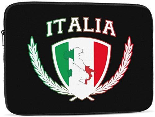 Borsa per computer portatile con teschio umano in vanga, compatibile con 10 – 17 pollici carino borsa per computer portatile – simboli bandiera Italia, 30,5 cm