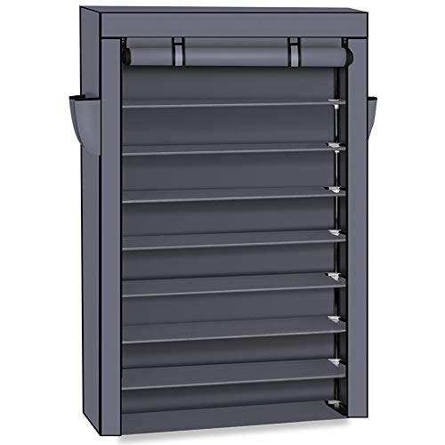Mytunes 10 Tiers Shoe Rack with Dustproof Cover Closet Shoe Storage Cabinet Organizer 61' Tall(Gray)