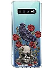 Suhctup Transparente Funda Compatible con Samsung Galaxy S7,Carcasa Protectora de TPU Ultradelgada Flor y Calavera Diseño Anti-Choques Resistente Case Cover para Samsung Galaxy S7(10)