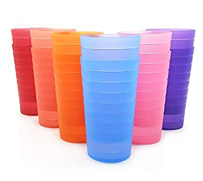 22-ounce Plastic Tumblers/Drinking Glasses/Party Cups/Iced Tea Glasses, Set of 12 Multicolor   Unbreakable, Dishwasher Safe, BPA Free