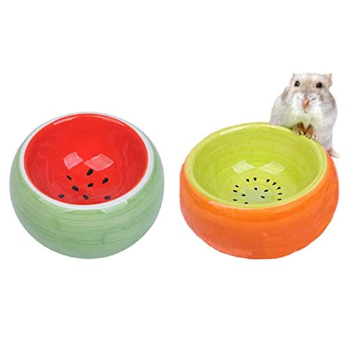 Hamster Bowl, Ceramic Guinea Pig Water Bowl Small Animal Food Dish for Syrian Hamster Rabbit Gerbil Chinchilla Hedgehog Sugar Glider Rat (2 Pcs)