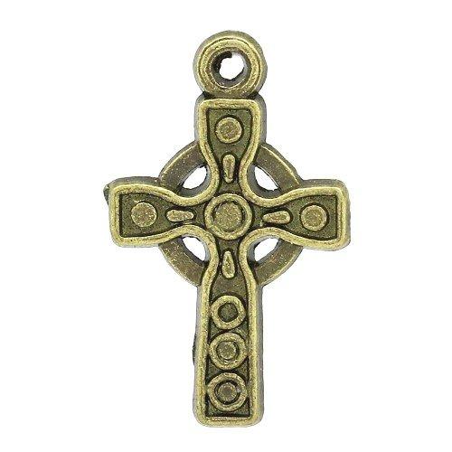 Tibetan Celtic Cross Pagan Charm Pendants Steampunk Bronze 26mm 3 Packs of 10