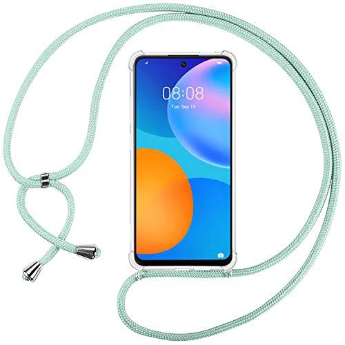 INGE Handykette Kompatibel mit Huawei P Smart 2021, Handyhülle für Huawei P Smart 2021 Hülle Transparent Silikon Hülle mit Einstellbar Kordel zum Umhängen, Stoßfest, R&umschutz - Grün