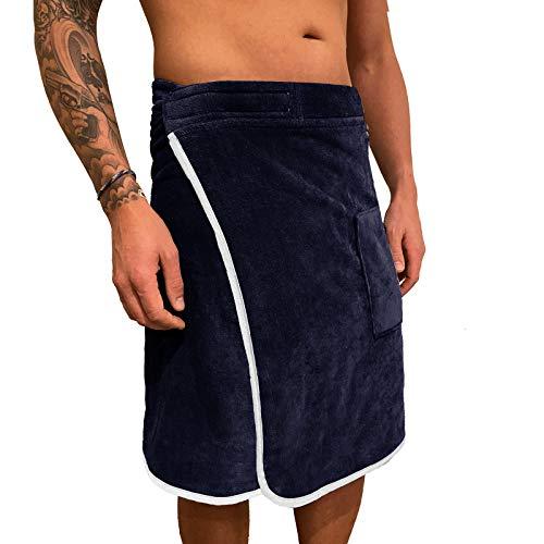 HOMELEVEL Sauna Kilt für Herren mit Sicherheitsklettverschluss und Tasche aus 100% Baumwolle Saunakilt Sarong, Herren Dunkelblau/Weiß, S-XXL