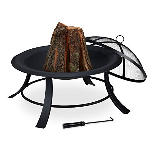 Relaxdays Fire pit with spark guard, garden and terrace, with poker, outdoor fire pit, diameter: 73.5 cm, black