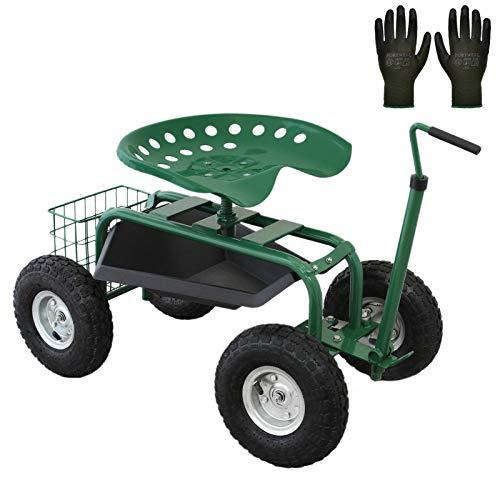 Gartensitz Fahrbarer Gartenwagen mit Sitz 150kg Sitzwagen Gartenhocker Rollwagen Rollsitz Gartenhelfer Grün Scooter Profi mit Werkzeugfach und Korb Kniebank