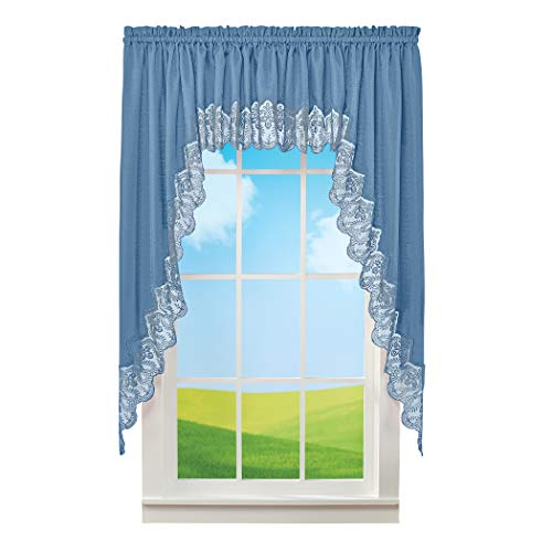 Collections Etc Elegant Lace Border Trimmed Solid-Colored Window Curtain Blue Swags