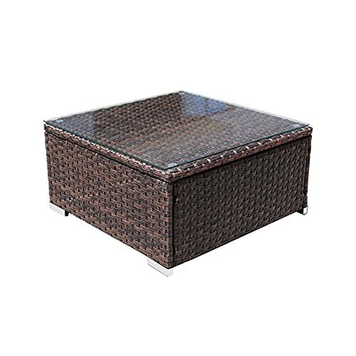 DIMAR GARDEN Outdoor Coffee Table Wicker Patio Furniture Conversation Set Lawn Garden Tea Table Rattan Patio Side Tables with Glass Top (Mix Brown, 25.2in)