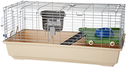Amazon Basics - Jaula / hábitat para animales pequeños, con accesorios - 104 x 21,5 x 57 cm, Grande
