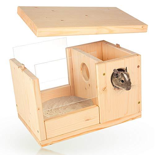 Premium Hamster Sandbad mit genialer Schmutzschleuse für gesunde Nager wie Rennmaus Degu Ratte Maus