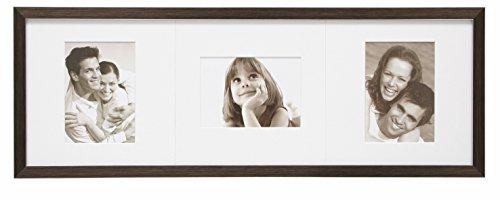 Deknudt Frames S41VK3-P3-13.0X18.0 fotolijst, voor 3 foto's, met passe-partout, hars, 78,4 x 13 x 18 cm, bruin
