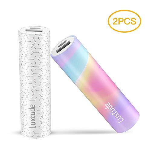 Luxtude 3350mAh ルージュ型 かわいい モバイルバッテリー 【2本セット】小型 軽量 PSE認証済 コンパクト携帯バッテリー iPhone/iPad/Samsung Galaxy/HUAWEIなどに対応 ギフトとして最適な商品(ホワイト Colorful)