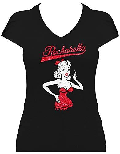 BlingelingShirts Damen Shirt Rockabilly Girl Glitzer zweifarbig mit Rockabella Schriftzug, T-Shirt, Grösse S, schwarz