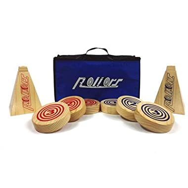 Rollors Backyard Game for Kids, Groups of All Ages & Families - The #1 Lawn Game for Summertime Fun, Tailgating, Camping, Outdoor Parties, BBQs, Picnics, Beach Days & more! – All-In-One Wooden Yard Activity Game Combining Horseshoes, Bocce Ball & Bowling