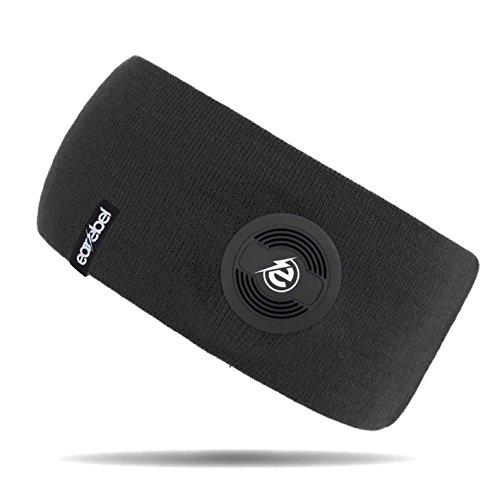 Earebel Lifestyle Slim Headband in Schwarz - kabellose Übertragung über Bluetooth ( Mit integriertem, kabellosen Bluetooth - Kopfhörern und integriertem Mikrofon zum Telefonieren )