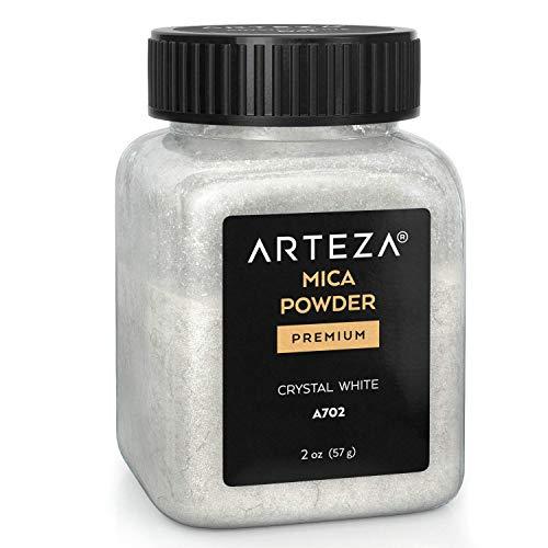 Mica en poudre Arteza pour résine époxy, Blanc cristal A702, bouteilles de 57 gr, pour la fabrication de peinture, d'époxy, de bougies
