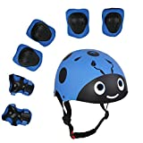 UniqueFit Lucky-M Kids Outdoor Sports Protective Gear,Boys and Girls Safety Pads Set [Helmet,Knee&Elbow Pads and Wrist Guards] for Roller, Scooter, Skateboard, Bicycle(3-8 Years Old) (Blue Beetle)