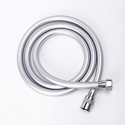 Tubo di ricambio flessibile doccia in acciaio inox 2 m. Flessibile, anti torsione, grigio argento e con connettore cromato.