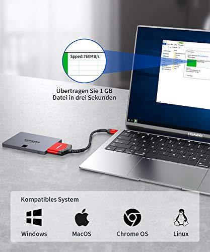JSAUX USB 3.0 auf SATA Adapter, USB 3.0 zu 2,5 Zoll SATA III Festplatten/SSD/HDD Adapter Nylon Kabel [Unterstützt UASP SATA III] Kompatibel mit Windows, MacOS, ChromeOS, Linux - (Rot)