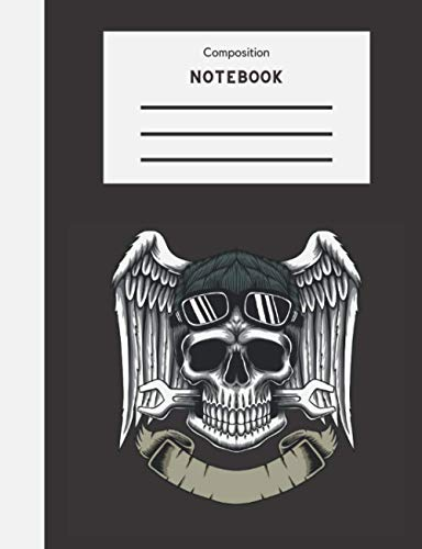 Composition Notebook: Wide Ruled 7.5 x 9.75 100 Pages Biker Wrench Skull Angel Wings Themed Journal