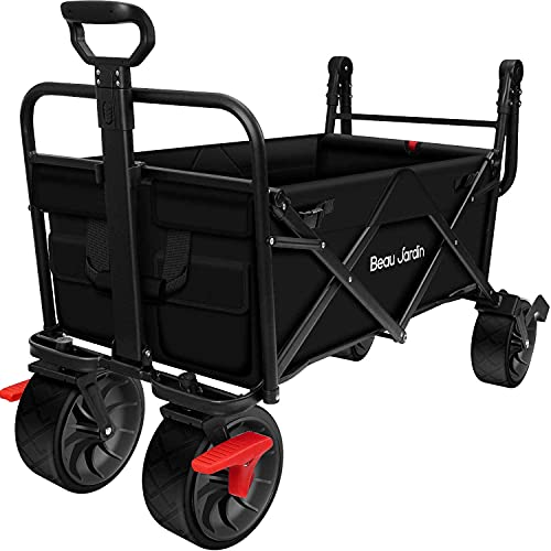 BEAU JARDIN 80KG Capacity Folding Camping Cart Outdoor Push Wagon Trolley with Brake Trailer Transport Free Standing Collapsible Utility Grocery Canvas Fabric Rolling Buggies Garden Sport Wagons Black