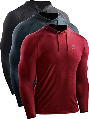 Neleus Men's 3 Pack Dry Fit Running Shirt Long Sleeve Workout Athletic Shirts with Hoods,5071 Dark Grey,Slate Grey,Red,US S,EU M