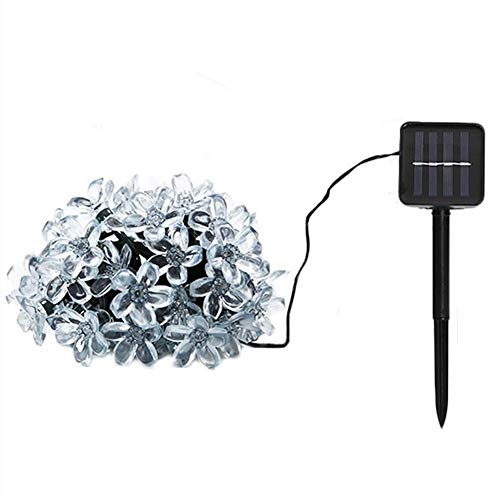 Led-lichtketting op zonne-energie, 22 m, 200 leds, perzikbloem lichtketting, buitenverlichting, tuin, party, Kerstmis, decoratie, solarlampen Warm White 12meters 100leds