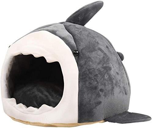 Cama para Gatos con Nido de tiburón, Cama para Perros, Cueva para Dormir Medio Cerrada, Cama cálida de Felpa para Cachorros, Cama para Perros y Gatitos, Cama Suave para Dormir para Gatos-Metro.