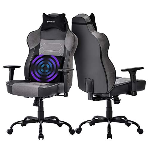 Big and Tall Massage Gaming Chair - Memory Foam Lumbar Cushion and Headrest, Adjustable Arms and Backrest High Back PC Racing Office Computer Desk Ergonomic Swivel Task Chair, Gray/Black black chair gaming