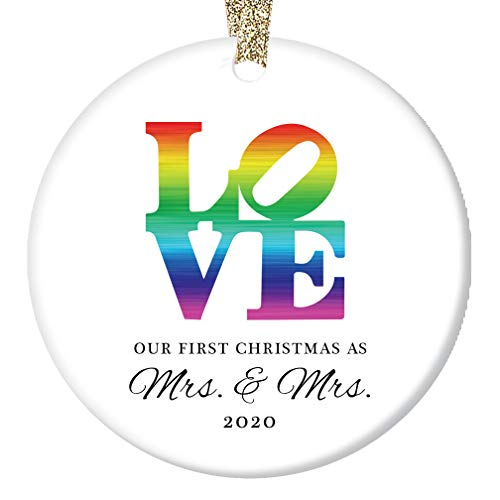 LOVE Christmas Ornament 2020 First Christmas Mrs & Mrs Wedding Present Lesbian Married Couple Gay Women First Holiday Marriage Rainbow Ceramic Keepsake 3' Flat Porcelain w Gold Ribbon & Free Gift Box