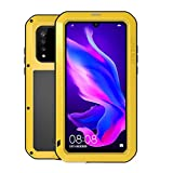 HuiFlying Case for Huawei P30 Lite,Newest Outdoor Aluminum Metal Gorilla Glass Shockproof Rugged Heavy Duty Bumper Silicone Military Protective Case for Huawei P30 Lite,Yellow