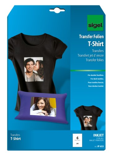 Sigel IP653 - Papel transfer para imprimir camisetas de colores oscuros, 6 hojas, A4